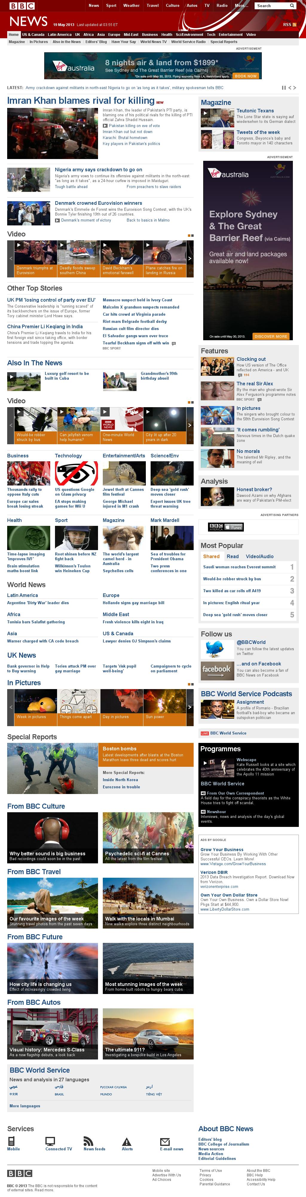 BBC at Sunday May 19, 2013, 8:01 a.m. UTC