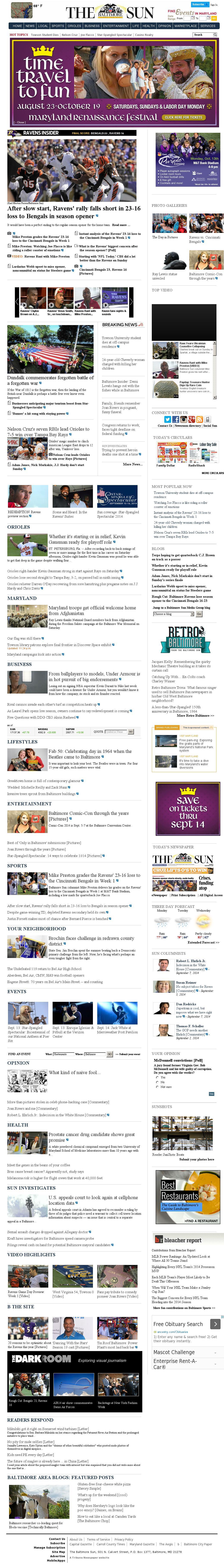 The Baltimore Sun at Monday Sept. 8, 2014, 6 a.m. UTC